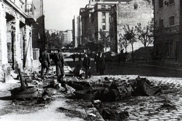 The wreckage of the T-34