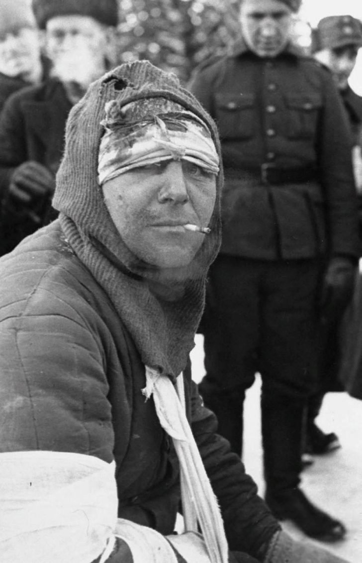 Prisoner of war wounded Red Army soldier